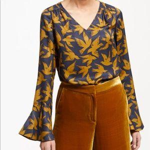 Boden Lucie Bird Silk Blend Long Sleeve Blouse 6